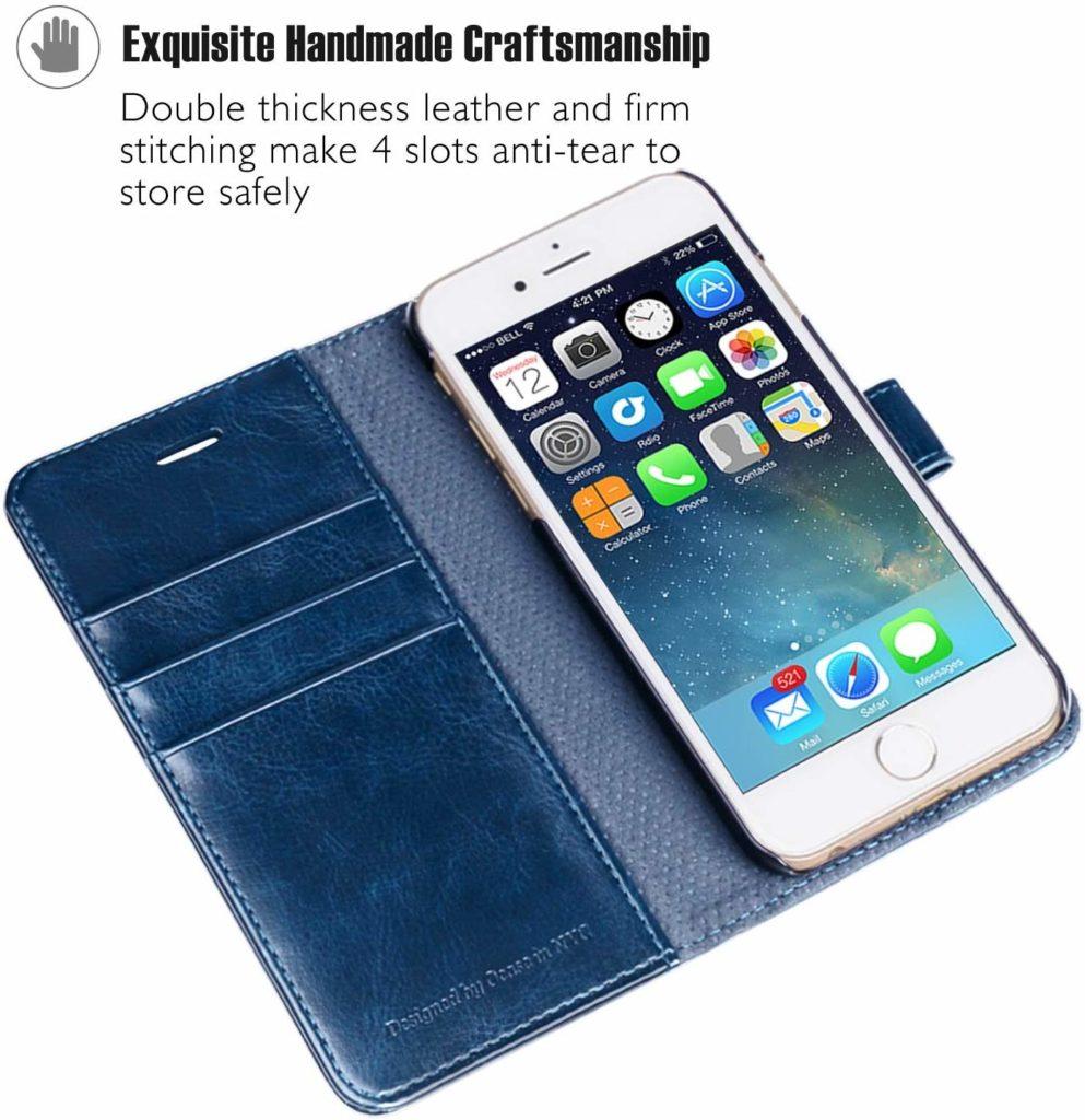 Coque iPhone 6 ou 6S étui à rabat en cuir bleu